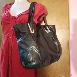 Kooba slouchy hobo tote bag black textured leather